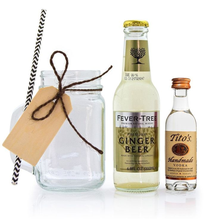 Great Gift for Bridal Showers or Wedding favors our Moscow Mule mini bottle and a can of ginger beer in a Mason Jar is just enough for a great drink - Everything included and Free Shipping when you order online now. What a fun gift!