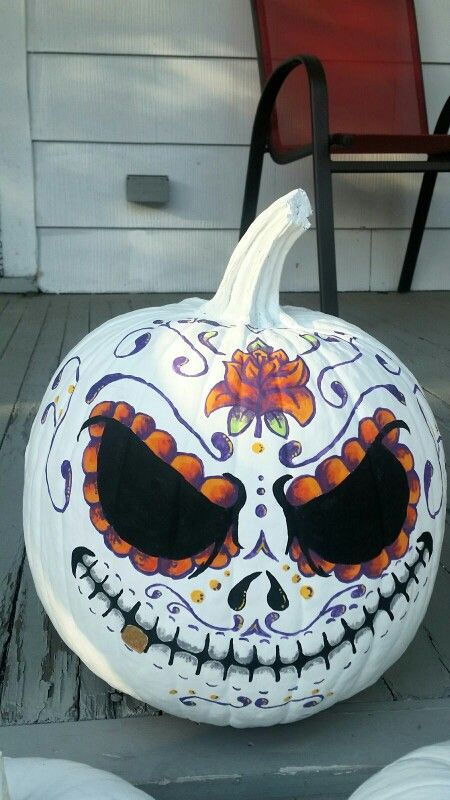 Hand Painted Sugar Skull Pumpkin In 2018 Pinterest Pumpkins And Carving