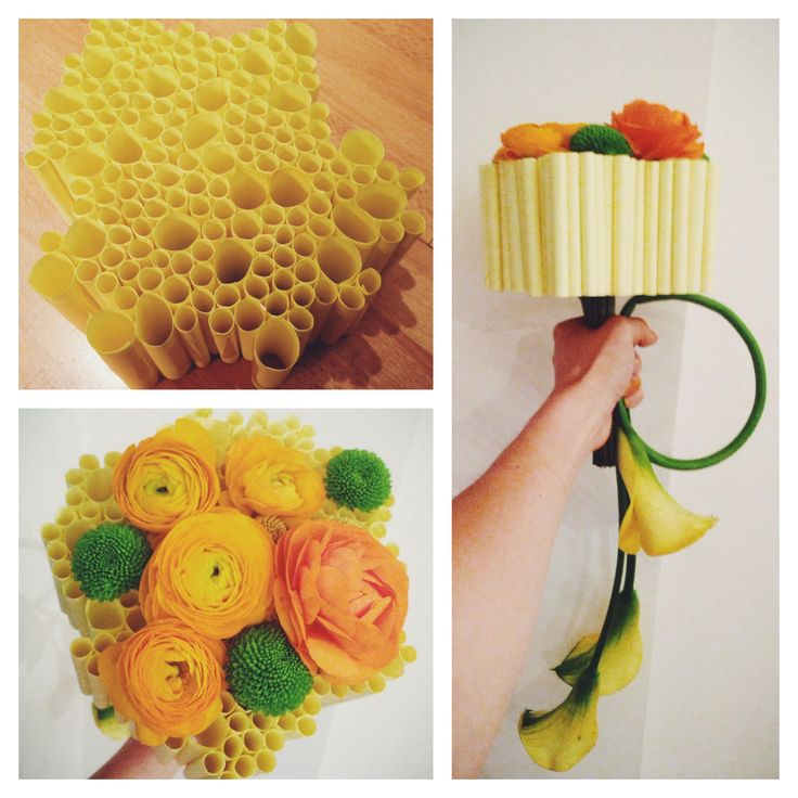 Bridal bouquet made on post-it rolls with ranunculus, santini and yellow calla lily by NO NO NO