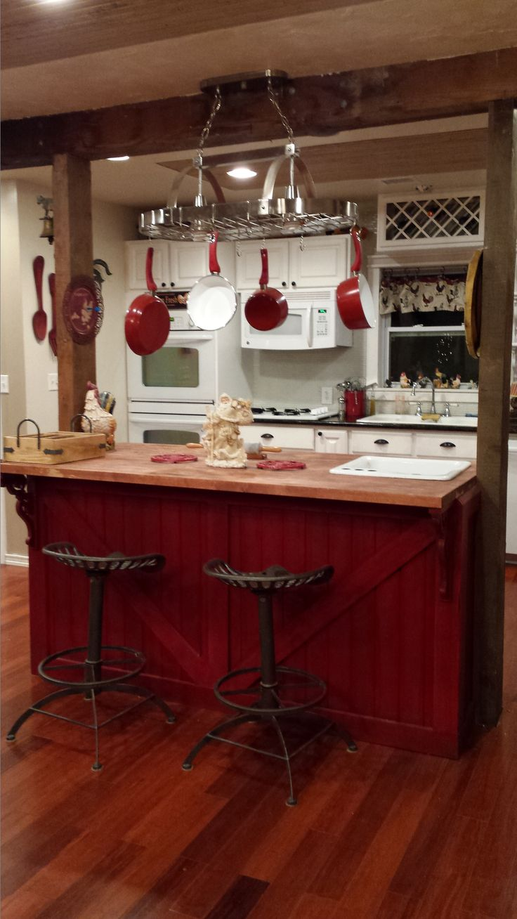 Red country kitchens - Best 25 Red Kitchen Island Ideas On Pinterest Red Kitchen Cabinets Butcher Block Dining Table And Red Cabinets