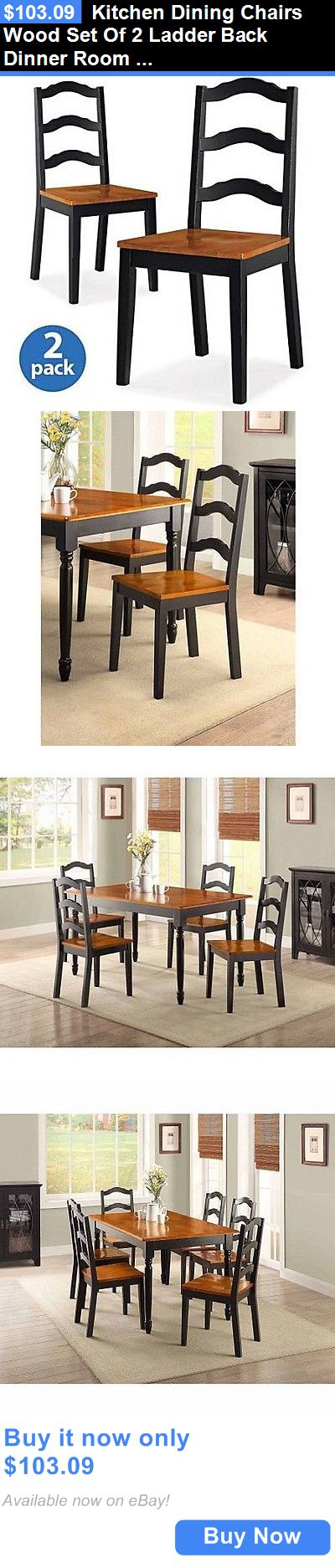 furniture: Kitchen Dining Chairs Wood Set Of 2 Ladder Back Dinner Room Furniture Black Home BUY IT NOW ONLY: $103.09