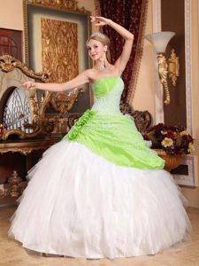 Taffeta and Tulle Ball Gown Strapless Quinceaneras Dress with Beading