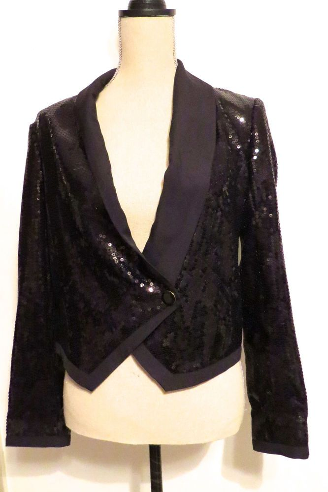 New With Tags BCBGeneration Sequin Cropped Black Blazer Sz XS REDUCED