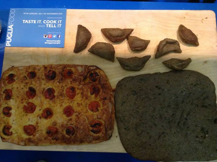 Taste it, cook it and tell it!  Focaccia and panzerotti from Puglia are ready at #WTM13 London. #WeAreinPuglia