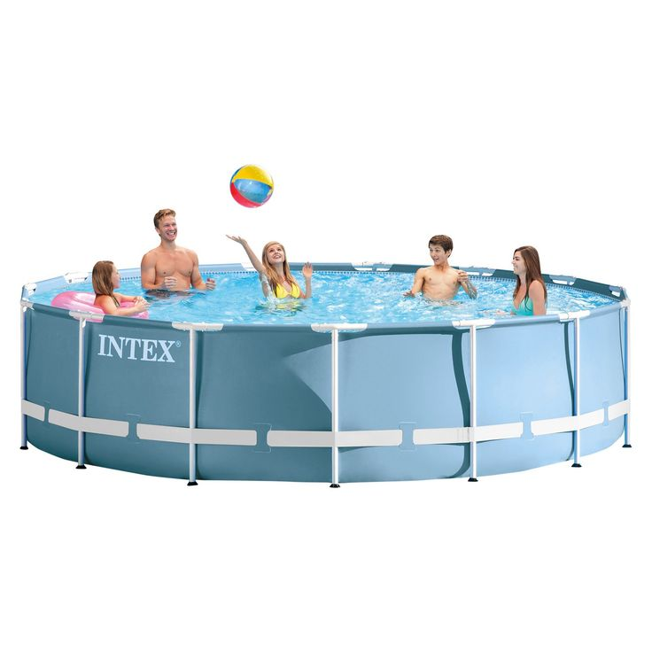 """Enjoy a whole new level of fun with an Intex 15'x42"""" Prism Frame Pool. Durable and easy to assemble, Intex Prism Frame pools feature all of the great benefits of Metal Frame pools, and are enhanced with strong powder-coated steel tubing and a stylish and upscale looking liner color. The Hydro Aeration Technology is incorporated to the cartridge filter pump to provide improved circulation and filtration, improved water clarity, and increased negative ions at the water surface. They ar..."""
