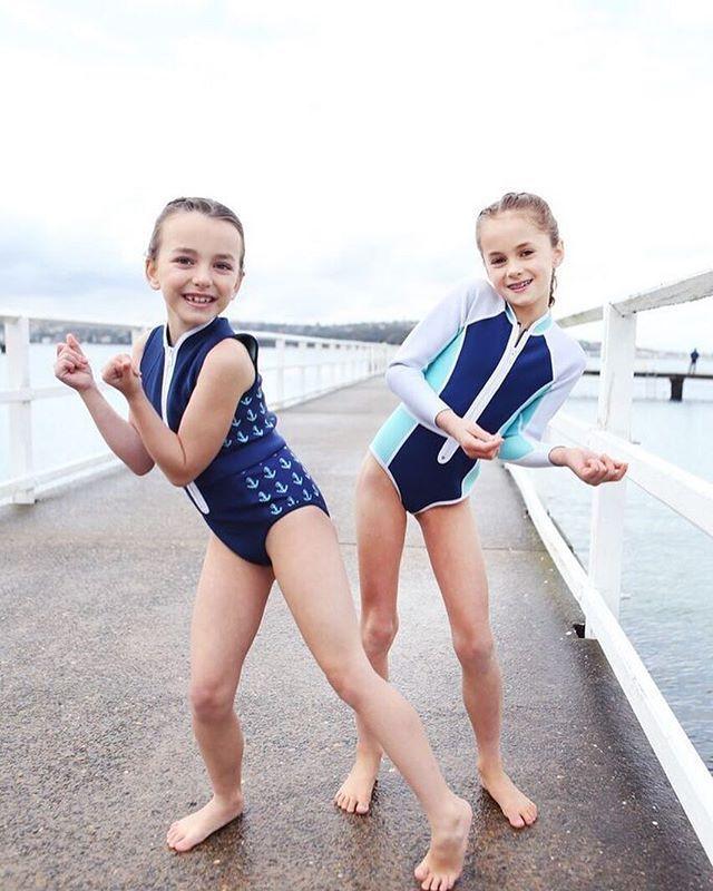 Darcy Long Sleeve Spring Suit | Turquoise/Navy/White #duskii #duskiigirl #neoprene #summer #kidswear #beach