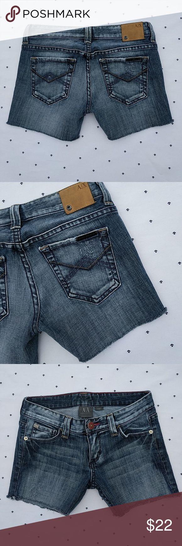 "💙 Custom CutOff Booty Shorts 💙 Factory destruction. Custom cut to 3 1/2"" inseam. EUC Armani Exchange Shorts Jean Shorts"