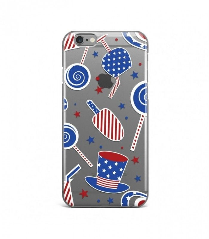 Candies and Hat American Pattern Clear or Transparent Iphone Case for Iphone 3G/4/4g/4s/5/5s/6/6s/6s Plus - USA0082 - FavCases