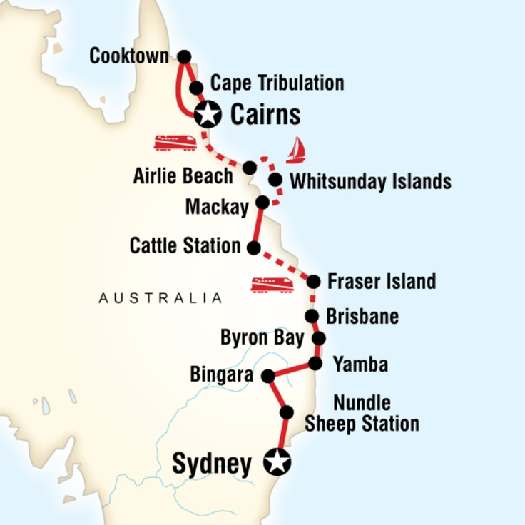 Map of the route for East Coast Encompassed - Sydney to Cairns (G Adventures)