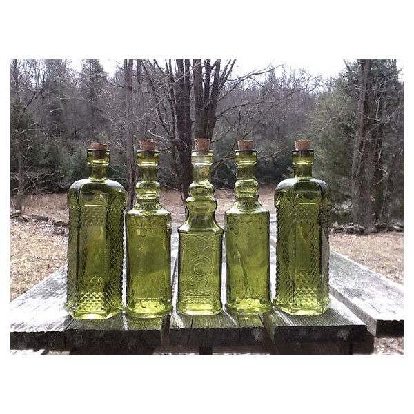5 Bottles 6.5 Inch Tall 4 oz 120ml Bottle Collection Green Glass... ($24) ❤ liked on Polyvore featuring home, home decor, vases, vintage style home decor, green glass vase, green glass bottle and vintage inspired home decor