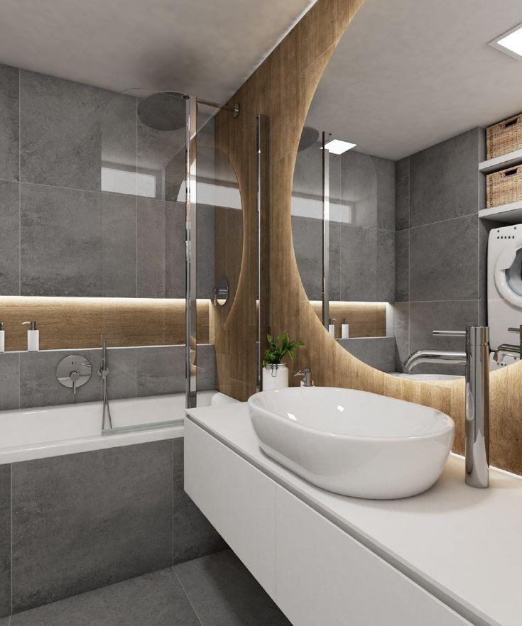 Moderní koupelna CIRCULO | Modern bathroom CIRCULO #bathroom #bath #design #bathroominspiration #koupelna #concrete #beton #woodwall #drevo #round #mirror #kruhy #zrcadlo #perfectodesign