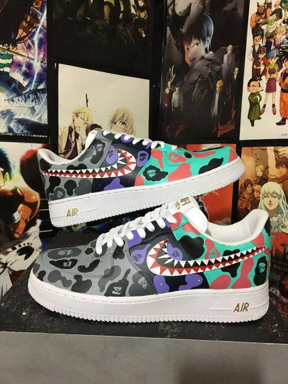 sale retailer cca3b 986e0 Custom Nike Air Force one,bape shark,bape camo ,custom sneakers , custom  shoes ,hand painted