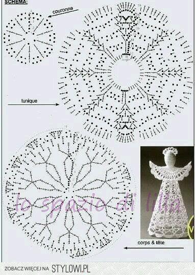 Collezione di angeli all'uncinetto con schemi / Crochet angels collection, free charts