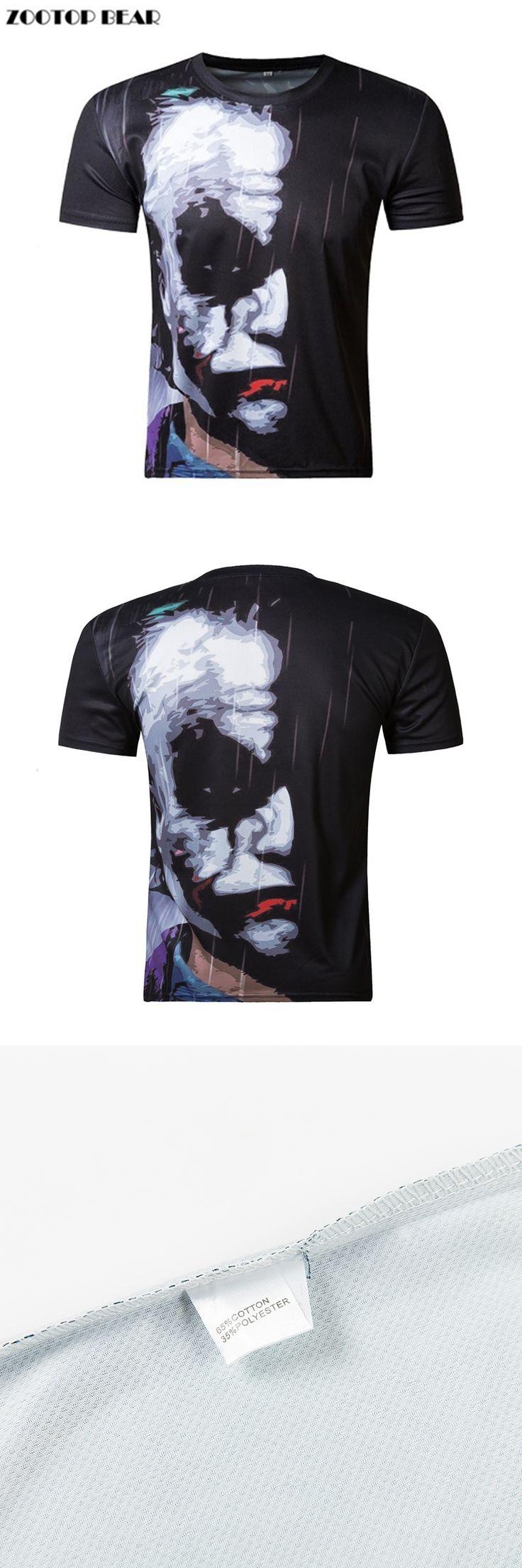 2017 New half face Joker 3d Fashion funny character joker Brand clothing design 3d t-shirt summer style tees top print Skull