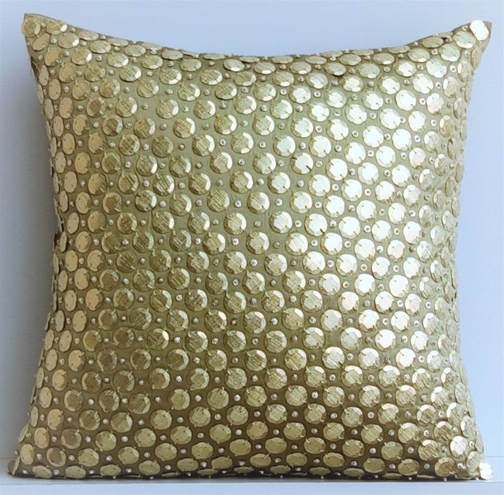 """Luxury Olive Green Decorative Cushion Covers, 16""""x16"""" Silk Pillowcase, Square Gold Sequins Embroidery Pillow Cover - Gold Polka Dots by TheHomeCentric on Etsy"""