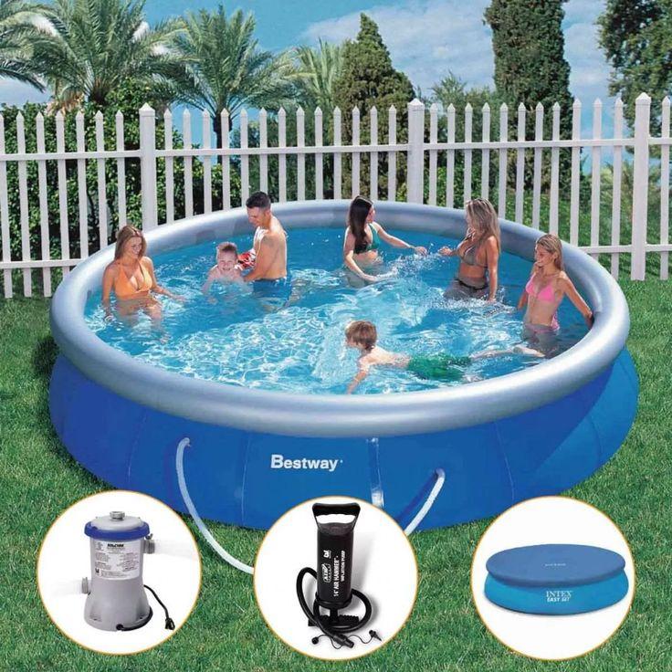 899,00 - kit piscina inflável bestway intex 10.179l filtro capa bomba