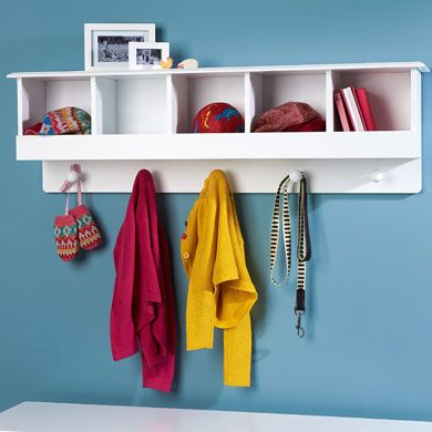 Pigeonhole Wall Shelf And Hooks Hallway Storage Toy