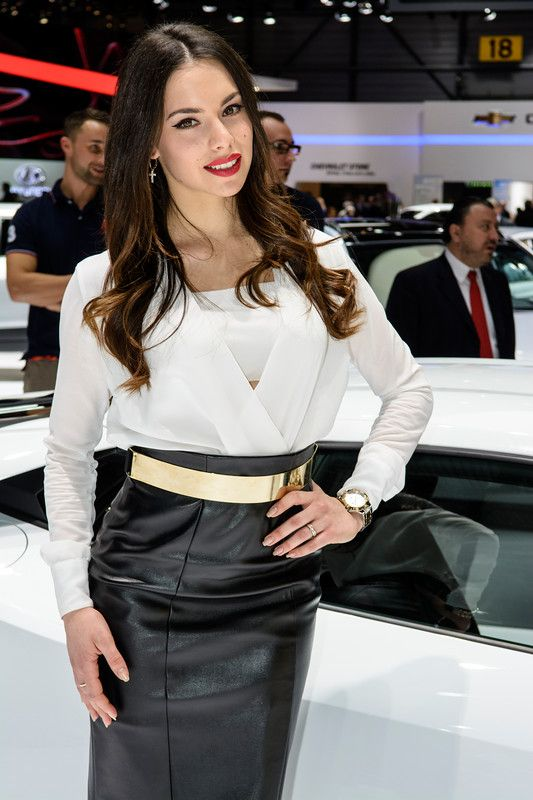 A stunning awesome model on the Lamborghini corner @ Geneva Motorshow 2014.