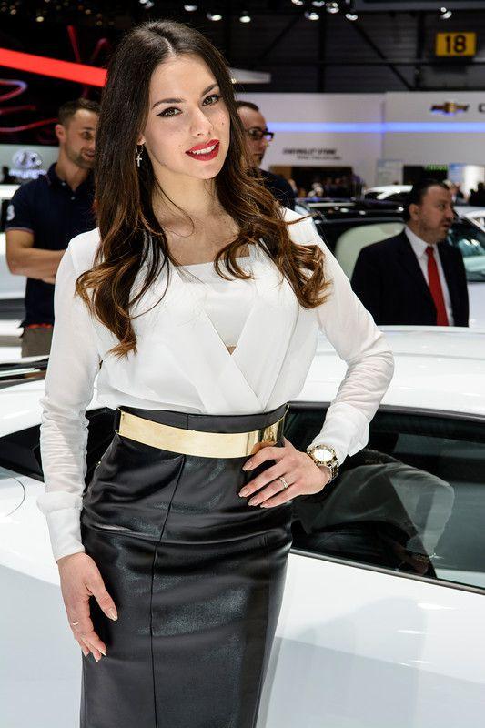 A stunning awesome model on the Lamborghini corner @ Geneva Motorshow 2014.
