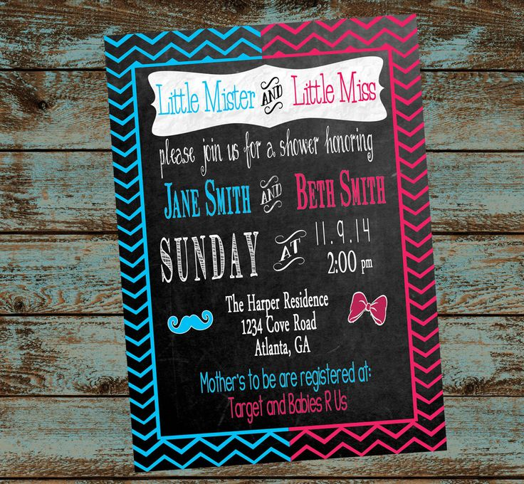 Double Baby Shower Invitation, His & Her, Gender Reveal, Little Miss, Little Mister, Pink and Blue Chevron Invitation by SweetSimplySouthern on Etsy https://www.etsy.com/listing/207925109/double-baby-shower-invitation-his-her