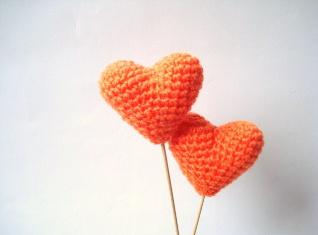 ADD diy <3 www.customweddingprintables.com <3 ...Wedding Cake Topper, Crochet Orange Hearts (Set of 2) Cake Toppers, For Valentine. $12.00, via Etsy.