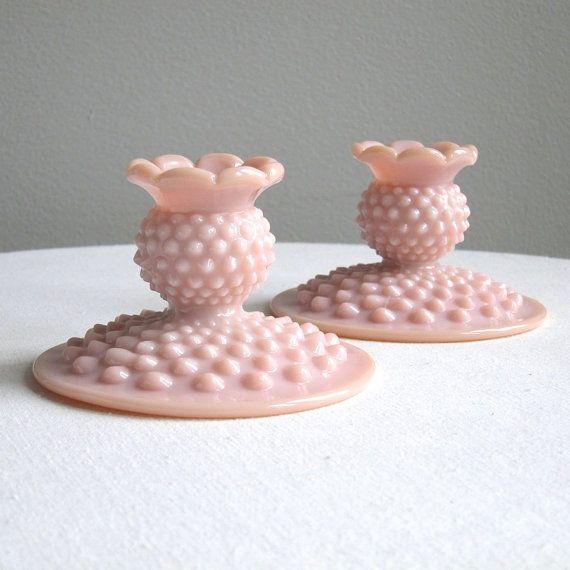 Pink Hobnail Milk Glass Candlesticks by by BarkingSandsVintage, $82.00