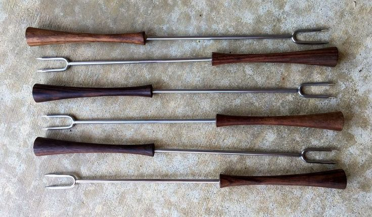 VTG 1960s MCM Stainless Steel Wood Handles Fondue Fork Set of Six Italy #Unknown