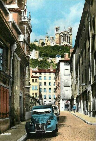 Lyon on old postcard