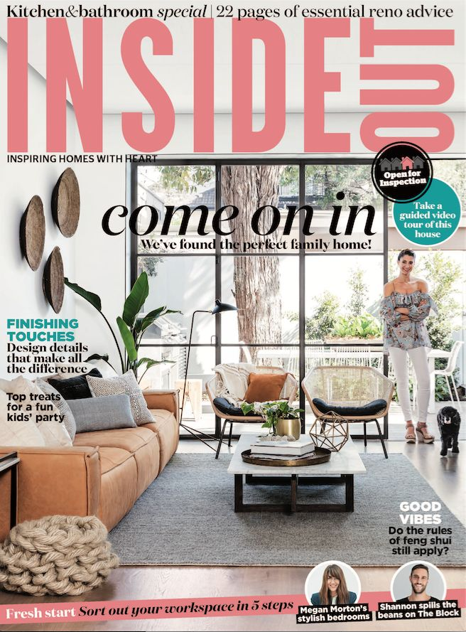 The cover of the October 2016 issue of Inside Out magazine. Styling by Vanessa Colyer Tay. Photography by Maree Homer. Available from newsagents, Zinio, https://au.zinio.com/magazine/Inside-Out-/pr-500646627/cat-cat1680012#/, Google Play, https://play.google.com/store/newsstand/details/Inside_Out?id=CAowu8qZAQ, Apple's Newsstand,https://play.google.com/store/newsstand/details/Inside_Out?id=CAowu8qZAQ, and Nook.