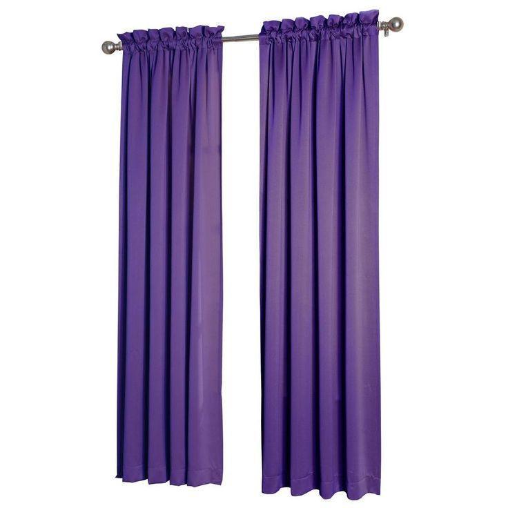 Sun Zero Purple Gregory Room Darkening Pole Top Curtain Panel, 54 in. W x 63 in. L