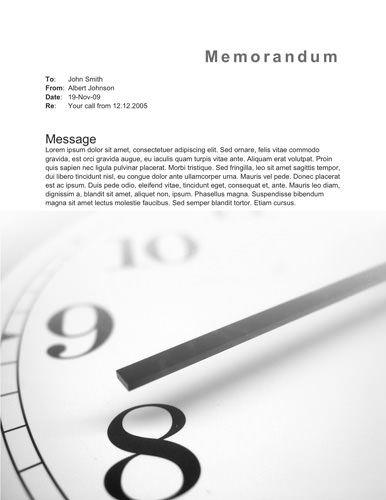 Clock memorandum