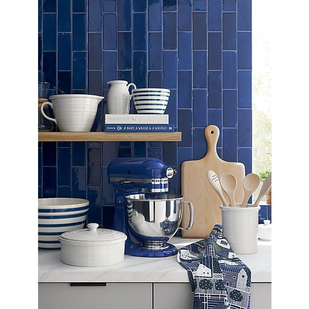 Individual Navy and White Striped Mixing Bowl   Crate and Barrel - I like the small bowls.