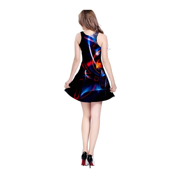 """Design inspired by the artwork """"Dark Light Lane"""", from the DARK STREET ART  collection.  A reversible sleeveless dress which can be worn in 2 ways - wear it with a  low-cut round neckline, or flip it over for a high-cut racer back design.  The dress is made from a light and flowy material. It is fitted at the top  and has a slight flare from the wasit, to create a flattering shape.  Perfect to be worn on its own, with leggings or layered under a cardigan.      * Made from 90% Polyester, 10%…"""