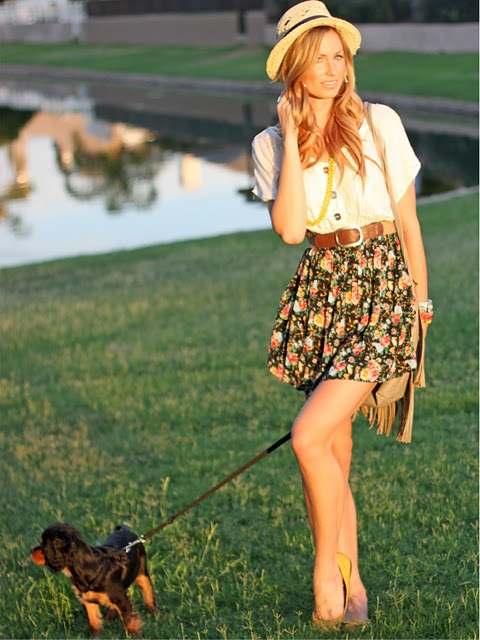 cute summer outfit: Hats, Fashion, Floral Skirts, Style, Dress, Puppy, Cute Summer Outfits