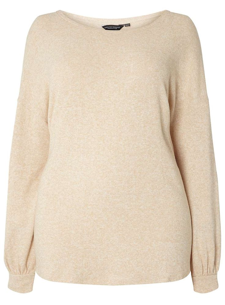 Womens DP Curve Plus Size Beige Batwing Soft Touch Top- Beige