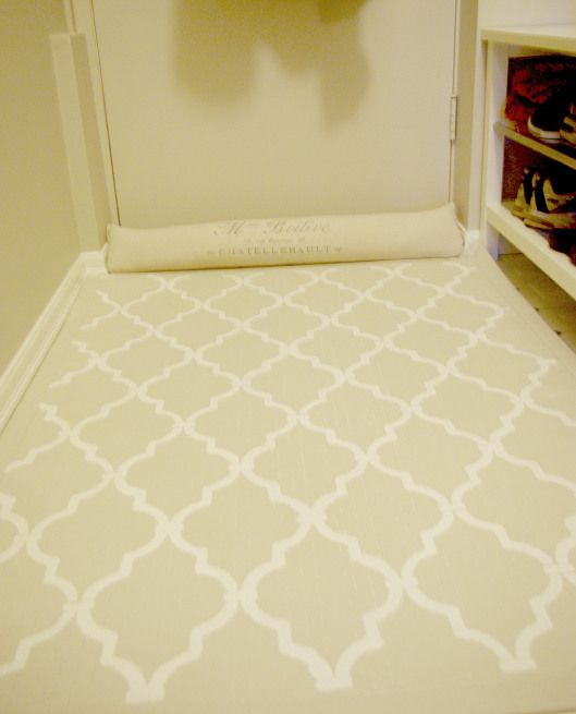 Paint a cheap floor mat....great idea for the dining room