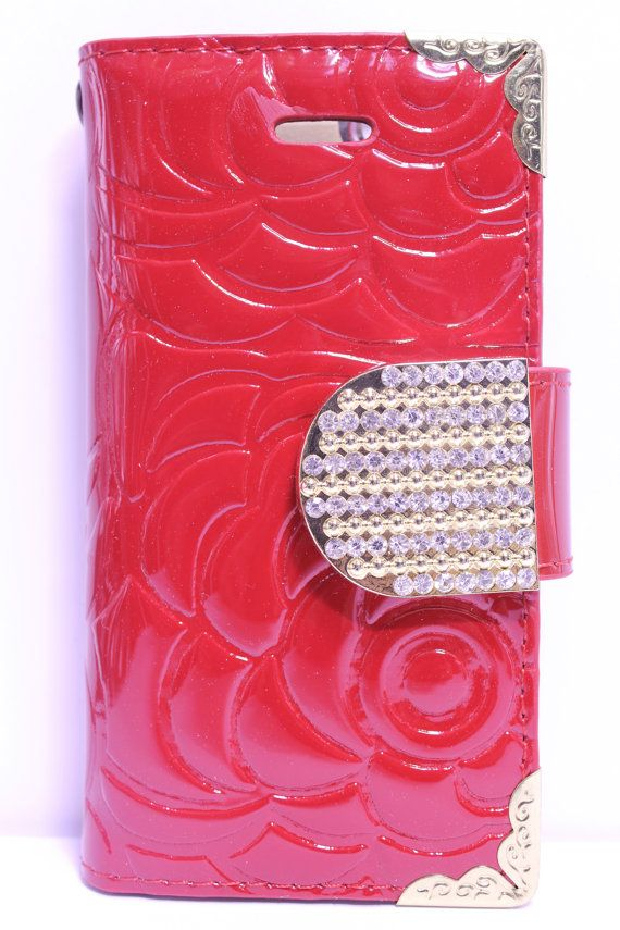 Red Flower Engraved Design With Gold Rhinestone Strap Diary Wallet Phone Case | Color Option Available