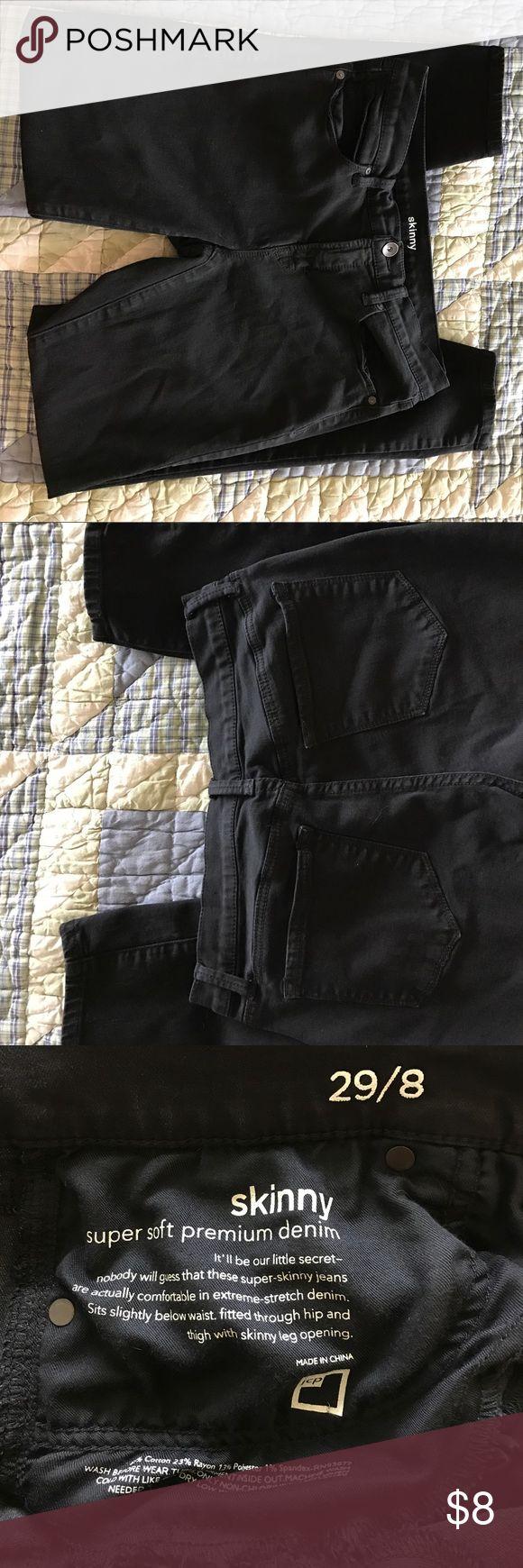 Black Skinny Jeans size 8 Really soft dark black skinny jeans.  Size 8.  JC Penney Brand.  Great condition! jcpenney Jeans Skinny
