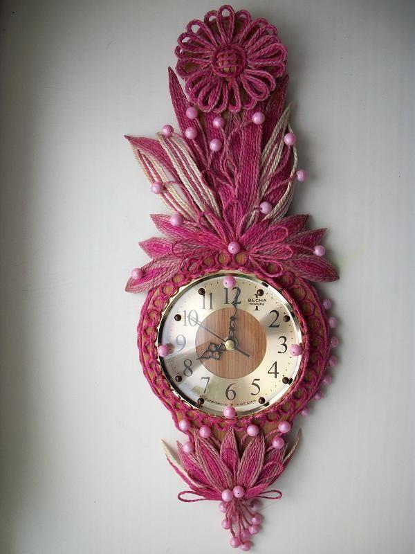 Декорирование часов шпагатом