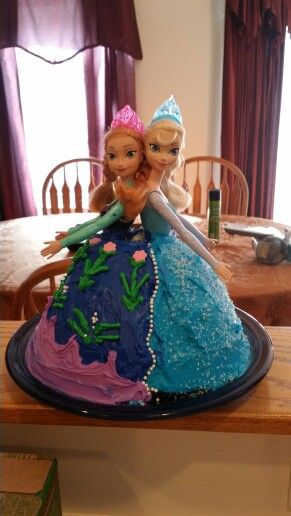 Anna/Elsa frozen cake I made for my daughter's 7 th birthday! It turned out Ok.