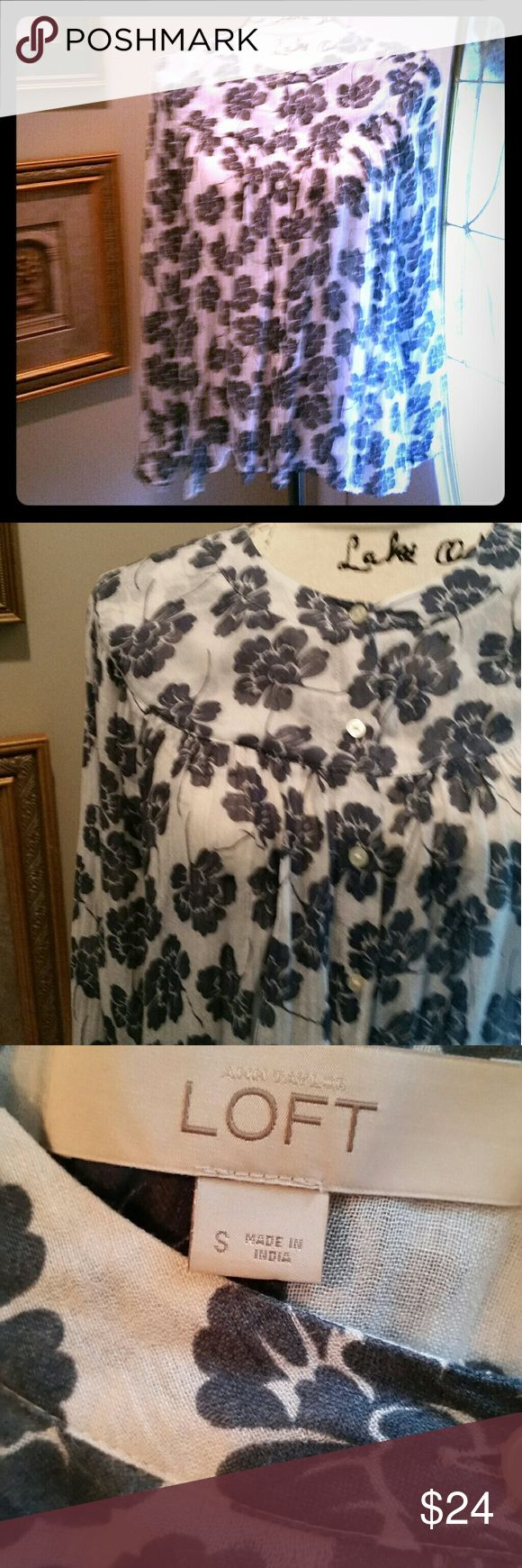 LOFT by Ann Taylor Floral Smock Top Breezy cotton smock style top  in off-white and navy blue floral pattern. Button front, long-sleeved with yoke at neckline. Perfect partner with your favorite jeans. EUC LOFT Tops Blouses