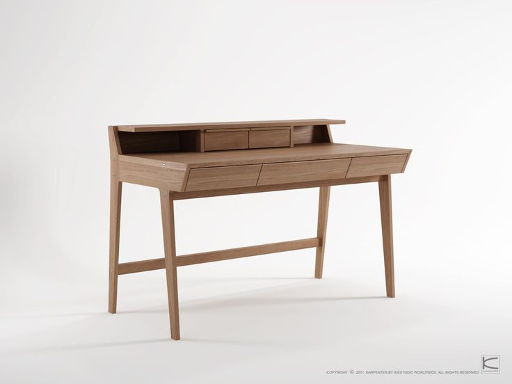The Karpenter writing desk draws on inspiration from the clean lines and soft angles of Scandinavian furniture of the 1950s and 1960s and the inlaid desk; popular in the baroque era that combines the office desk with storage space. The multiple drawers are perfect for the writers' tools and soon to be published projects. All you need is inspiration and a typewriter.   www.karpenter.com