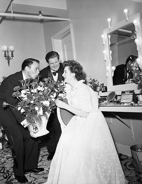 """francisalbertsinatra: """" Original caption: 9/30/1953-New York, NY—Frank Sinatra sings """"Happy Birthday"""" to actress Deborah Kerr in her dressing room after the opening performance of """"Tea and Sympathy"""" at the Barrymore Theater. Her husband, Anthony..."""