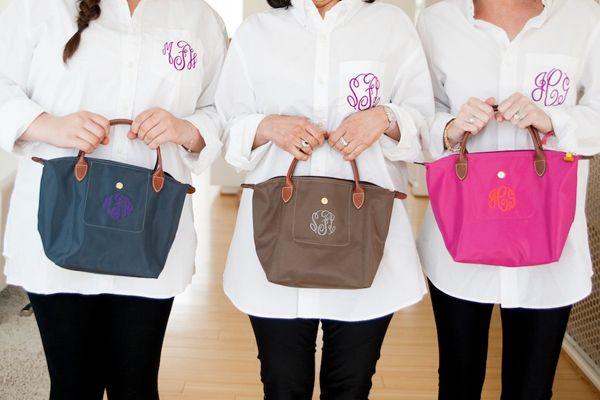 monogrammed bags + shirts - perfect bridesmaid gifts!