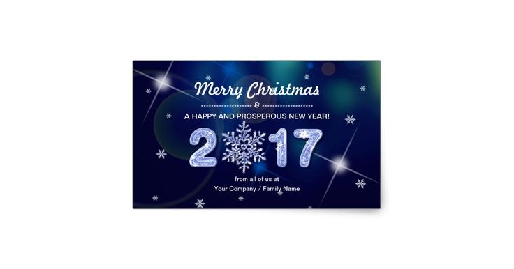 Merry Christmas and a Happy and Prosperous New Year 2017. Snowflake Design Christmas and New Year's 2017 Family / Business Gift Stickers with customizable text. Matching cards, postage stamps and other products available in the Christmas & New Year Category of our store.