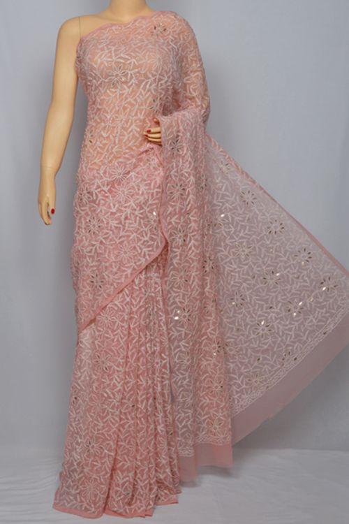 Peach Allover Hand Embroidered Lucknowi Chikankari Saree (With Blouse - Georgette) MC250035
