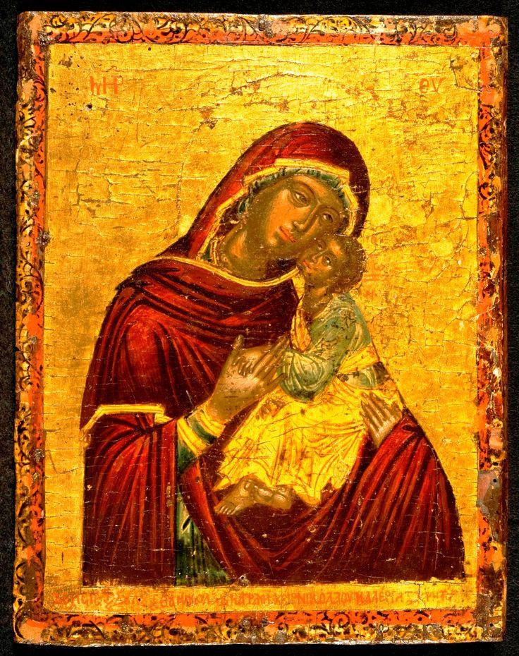 Virgin & Child Eleusa, Cretan dated 1722. Korban collection.