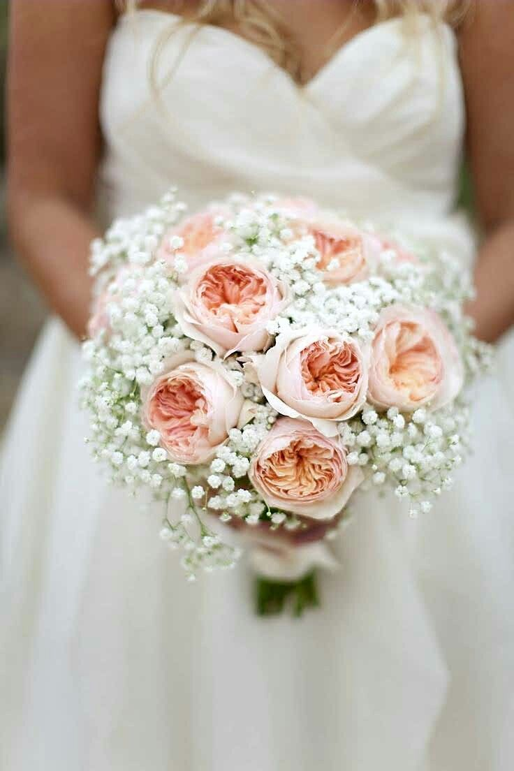Pretty Wedding Bouquet Arranged With: White Gypsophila & Peach English Garden Roses