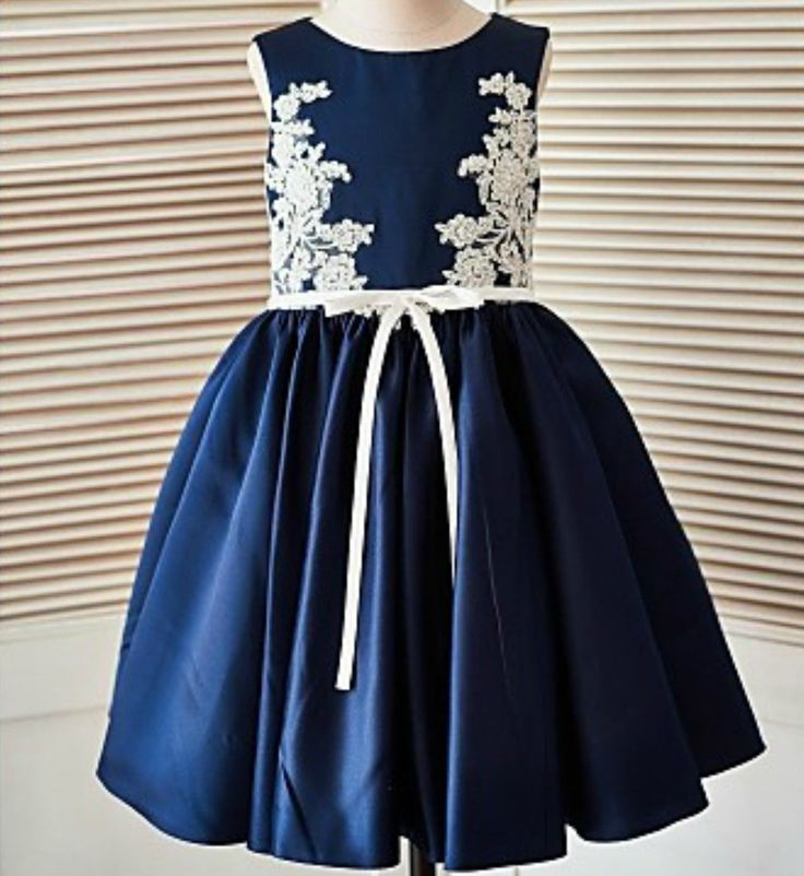Embroidered Navy Blue Dress