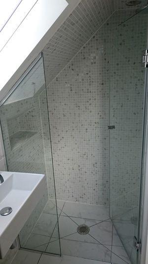Small Hinged Shower Door and Side Panel Screen in Attic Eaves, Door Open, CGC Showers